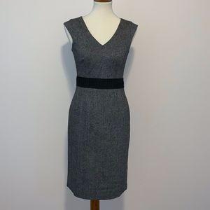 Banana Republic V Neck Sleeveless Black Wool Dress
